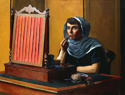 Youthful Painting - Young Woman Putting On Lipstick by Felix Edouard Vallotton
