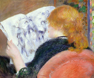 Auburn Painting - Young Woman Reading An Illustrated Journal by Pierre Auguste Renoir