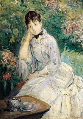 Young Woman Seated On A Sofa Print by Berthe Morisot