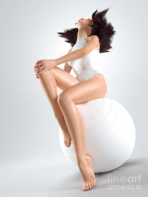 Young Woman Sitting On White Exercise Ball Print by Oleksiy Maksymenko
