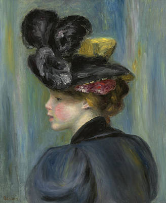 Youthful Painting - Young Woman With Black Hat by Pierre Auguste Renoir