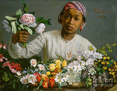 Young Woman With Peonies Print by Jean Frederic Bazille