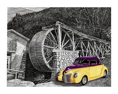Selective Coloring Art Drawing - 1939 Ford Street Rod Next To Waterwheel by Jack Pumphrey