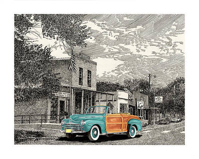 Selective Coloring Art Drawing - 1946 Ford Sports Man Convertible  In Hillsboro N M  by Jack Pumphrey