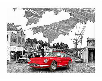 Selective Coloring Art Drawing - Your Ferrari In Tularosa N M  by Jack Pumphrey