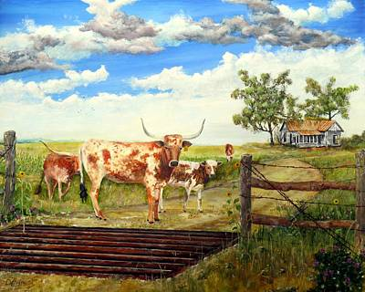 Dillon Painting - Longhorn Stand Off Your Place Or Mine by Michael Dillon