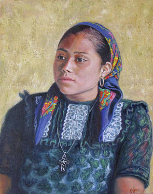 Oaxacan Painting - Youth From San Bartolome Quialana by Judith Zur