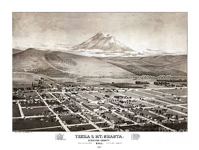 Vintage Map Painting - Yreka - California - 1884 by Pablo Romero