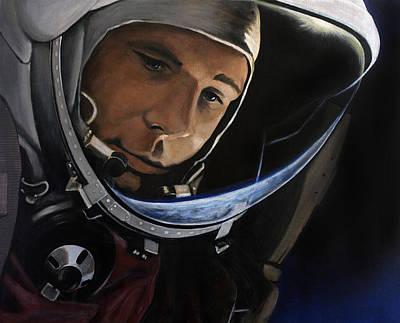 Astronauts Painting - Yuri Alekseyevich Gagarin by Simon Kregar