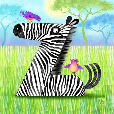 Nature Scene Mixed Media - Z Is For Zebra by Valerie Drake Lesiak
