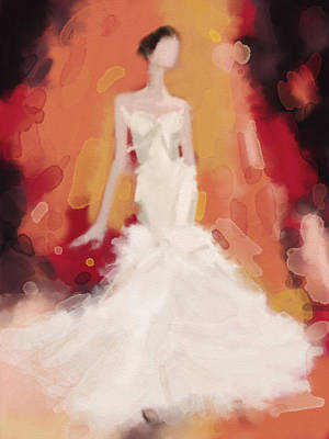 Digital Painting - Zac Posen Cream Colored Dress Fashion Illustration by Beverly Brown Prints