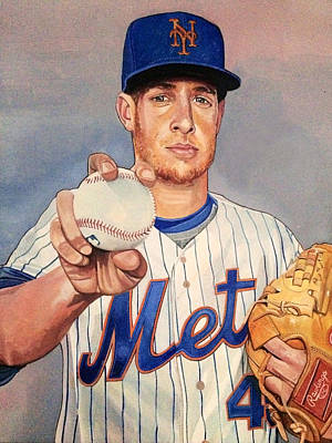 Painting - Zach Wheeler New York Mets by Michael  Pattison