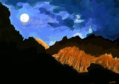 Moonlit Night Drawing - Moon Palace  by Paul Sutcliffe