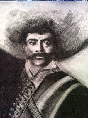 Mexicano Drawing - Zapata by Lili Bee