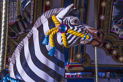 Zebra Amusement  Ride Print by Garry Gay