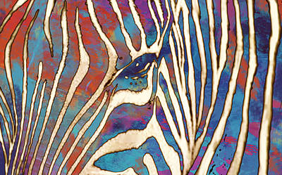 Stylized Mixed Media - Zebra Art - 1 Stylised Drawing Art Poster by Kim Wang