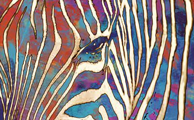 Zebra Mixed Media - Zebra Art - 1 Stylised Drawing Art Poster by Kim Wang