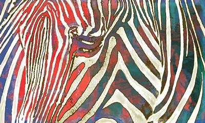 Zebra Art - 2 Stylised Drawing Art Poster Print by Kim Wang