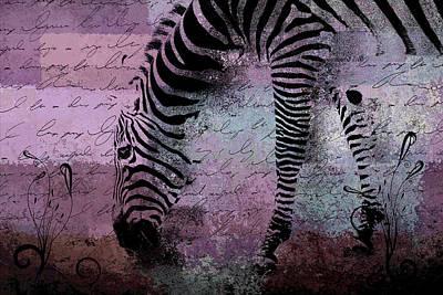 Zebra Digital Art - Zebra Art - Sc01 by Variance Collections