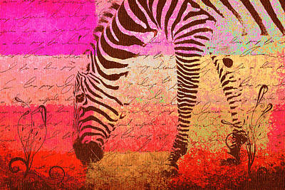Multicolored Digital Art - Zebra Art - T1cv2blinb by Variance Collections