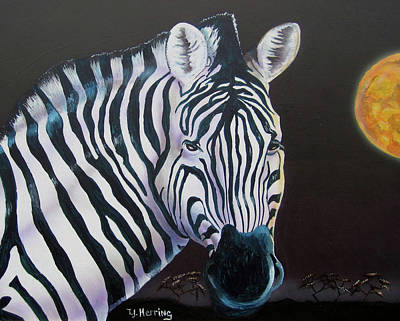 Painting - Zebra At Night  by Thomas J Herring