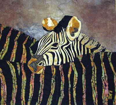 Art Quilts Tapestries - Textiles Tapestry - Textile - Zebra Baby by Lynda K Boardman