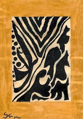 Indian Ink Mixed Media - Zebra by Carla Sa Fernandes