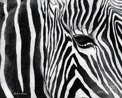 Abstract Zebra Painting - Zebra Eye by Hailey E Herrera