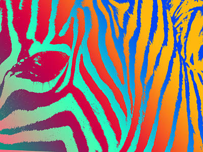 Zebra Digital Art - Zebra Head Pop Art Panel by Daniel Hagerman