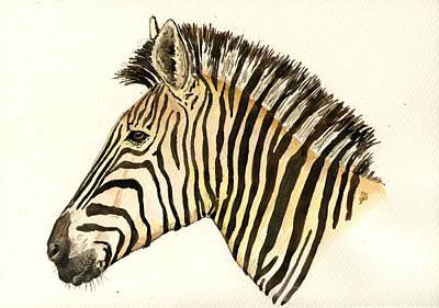 Animal Head Painting - Zebra Head Study by Juan  Bosco