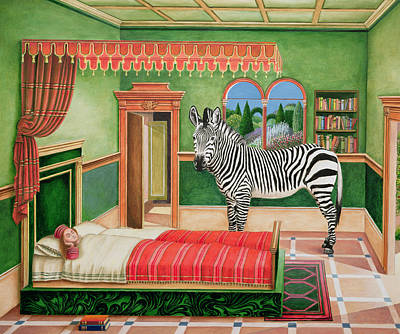 Bed Quilts Painting - Zebra In A Bedroom, 1996 by Anthony Southcombe