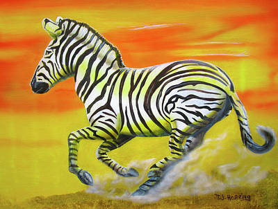 Painting - Zebra Kicking Up Dust by Thomas J Herring