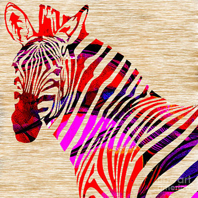 Striped Mixed Media - Zebra by Marvin Blaine