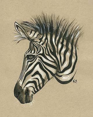 Art Paper Painting - Zebra Profile by Konni Jensen