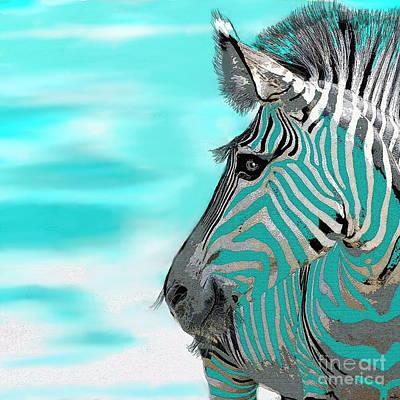 Abstract Zebra Painting - Zebra  by Saundra Myles