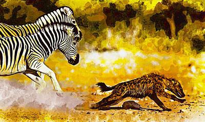 Zebra Stallion Chasing Young Hyena Original by Don Kuing