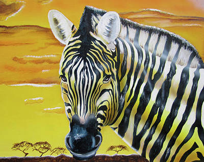 Painting - Zebra Sunset by Thomas J Herring