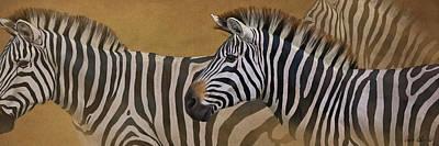 Blaise Digital Art - Zebra Trio by Aaron Blaise