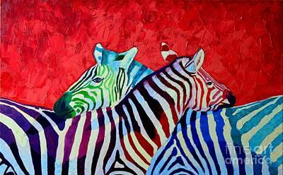 Zebra In Painting - Zebras In Love  by Ana Maria Edulescu