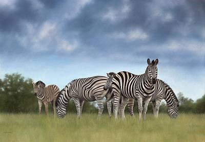 Zebras Painting Print by Rachel Stribbling