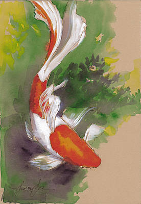 Koi Fish Painting - Zen Comet Goldfish by Tracie Thompson
