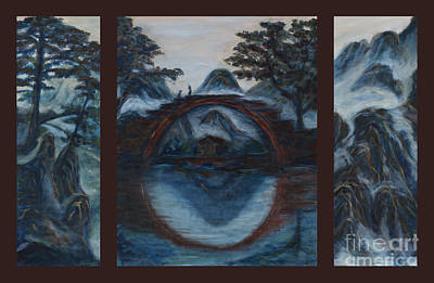 Tryptych Painting - Zen Mountain Lake Tryptych by Angie Bray