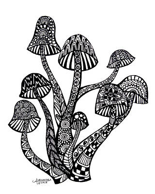 Mushroom Drawing - Zen Mushrooms by Alexandra Nicole Newton