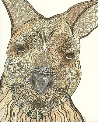 Marsupial Drawing - Zen Wallaby 2 by Jennie  Richards