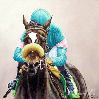 Zenyatta Painting - Zenyatta Winning The Vanity Handicap by Tom Chapman