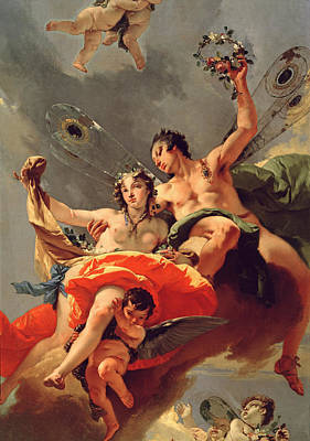 Wreath Painting - Zephyr And Flora by Giovanni Battista Tiepolo