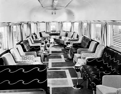 Zephyr Art Deco Lounge Car Print by Underwood Archives
