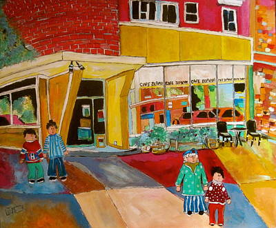 Painting - Zephyr Cafe Sherbrooke by Michael Litvack