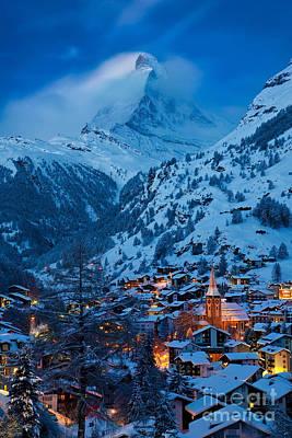 Snowy Night Photograph - Zermatt - Winter's Night by Brian Jannsen