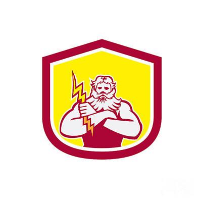 Zeus Greek God Arms Cross Thunderbollt Retro Print by Aloysius Patrimonio